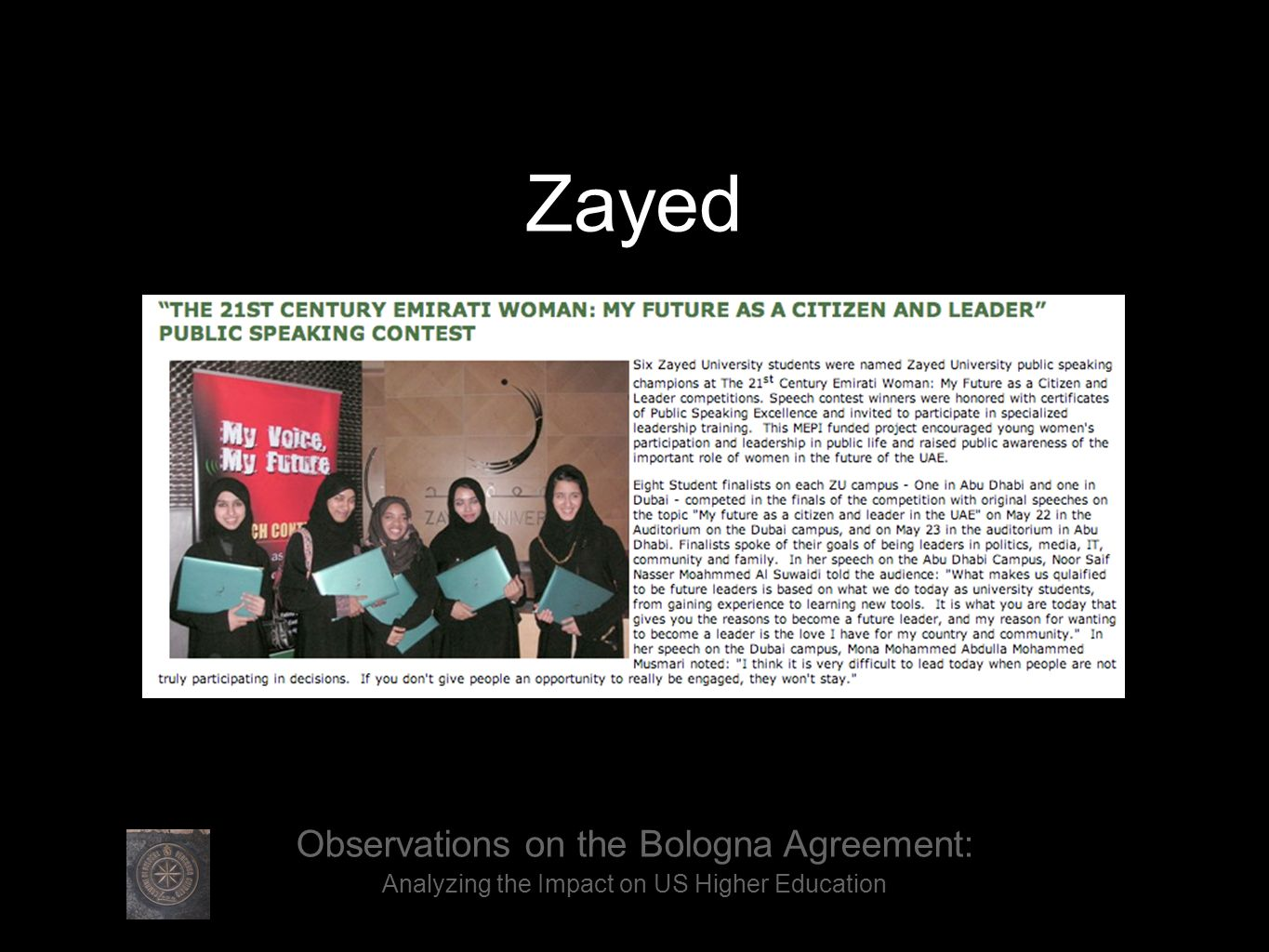 Observations on the Bologna Agreement: Analyzing the Impact on US Higher Education Zayed