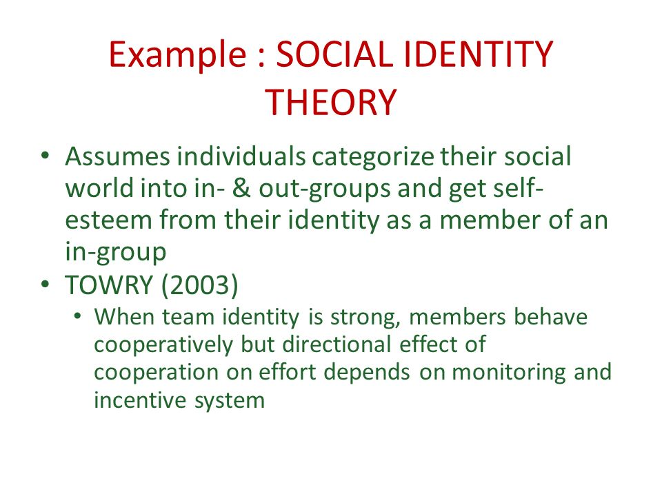 Example : SOCIAL IDENTITY THEORY Assumes individuals categorize their social world into in- & out-groups and get self- esteem from their identity as a member of an in-group TOWRY (2003) When team identity is strong, members behave cooperatively but directional effect of cooperation on effort depends on monitoring and incentive system