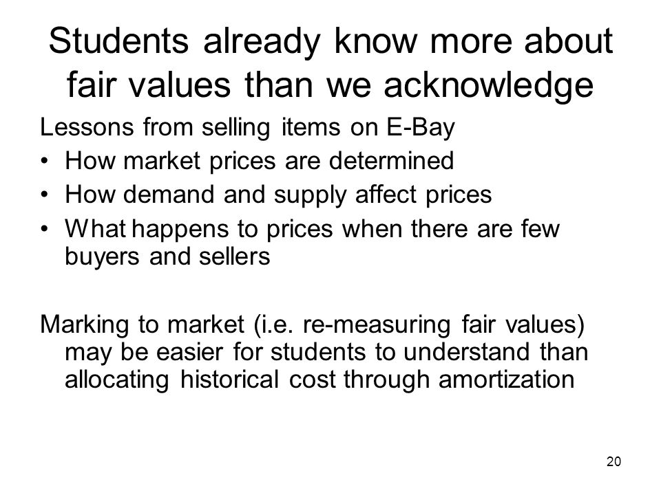 20 Students already know more about fair values than we acknowledge Lessons from selling items on E-Bay How market prices are determined How demand an