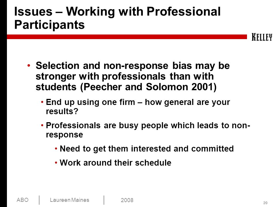 20 ABOLaureen Maines 2008 Issues – Working with Professional Participants Selection and non-response bias may be stronger with professionals than with students (Peecher and Solomon 2001) End up using one firm – how general are your results.