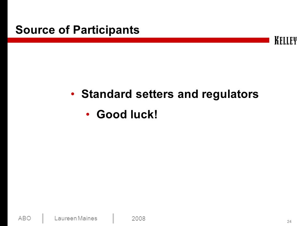 24 ABOLaureen Maines 2008 Source of Participants Standard setters and regulators Good luck!