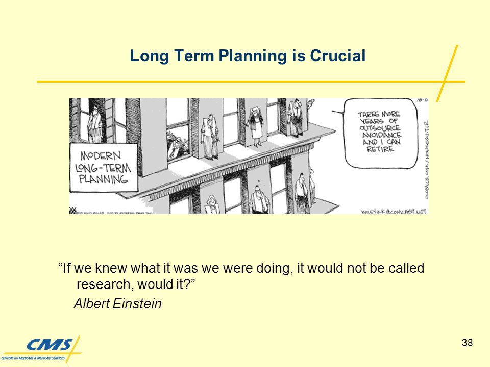 38 Long Term Planning is Crucial If we knew what it was we were doing, it would not be called research, would it.