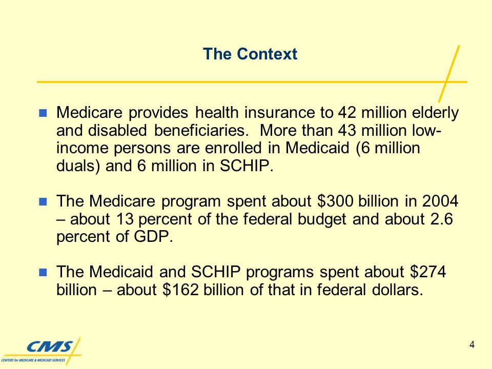 4 Medicare provides health insurance to 42 million elderly and disabled beneficiaries.