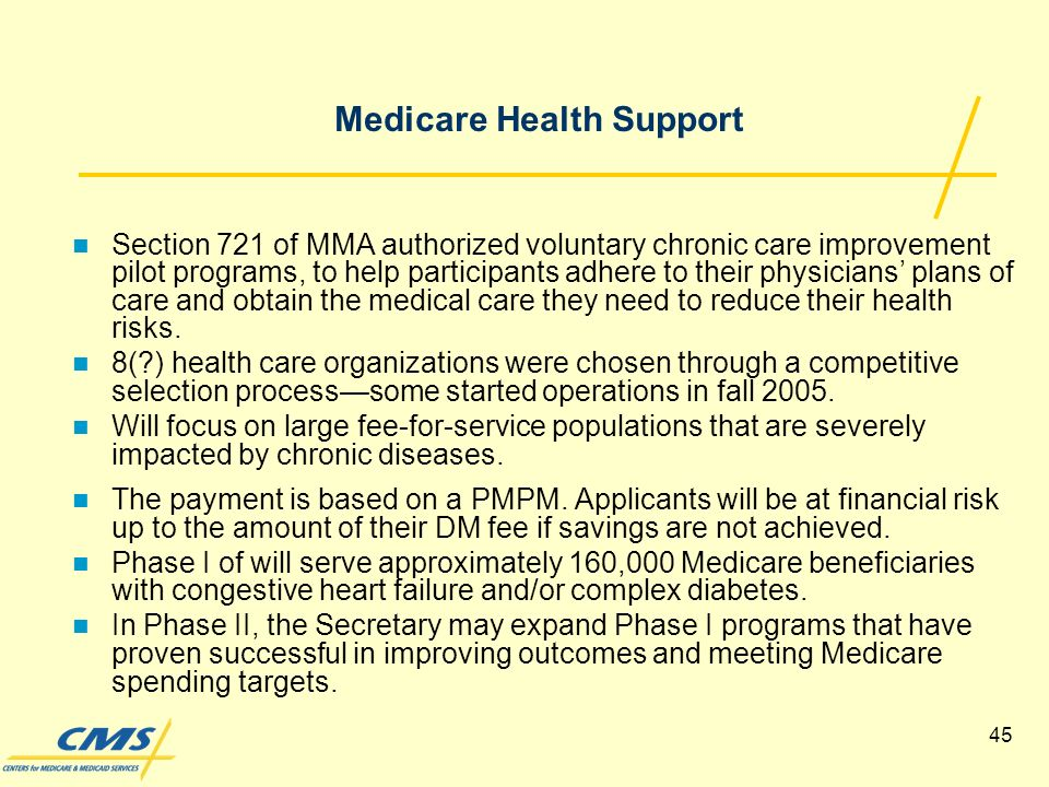 45 Medicare Health Support Section 721 of MMA authorized voluntary chronic care improvement pilot programs, to help participants adhere to their physicians plans of care and obtain the medical care they need to reduce their health risks.