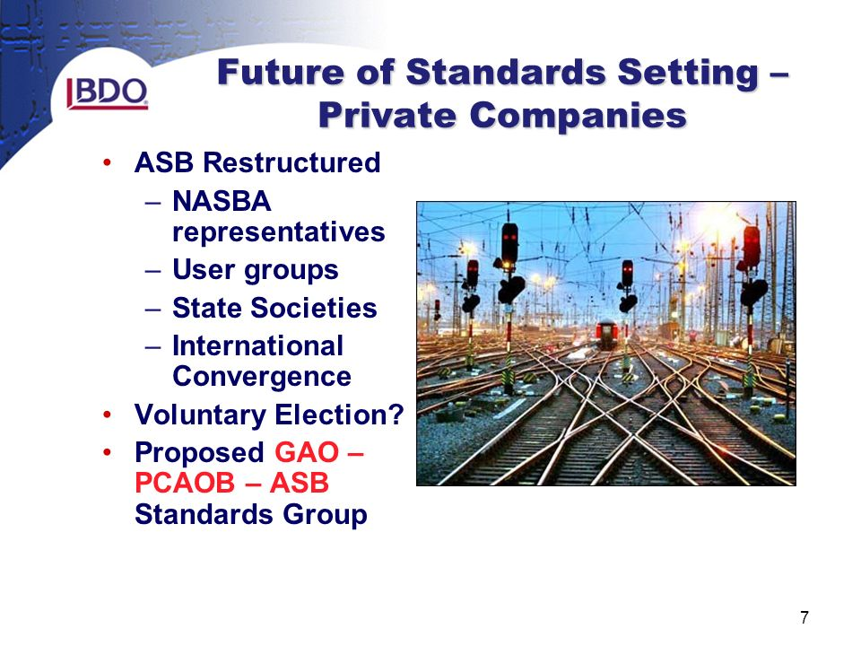 7 Future of Standards Setting – Private Companies ASB Restructured –NASBA representatives –User groups –State Societies –International Convergence Voluntary Election.