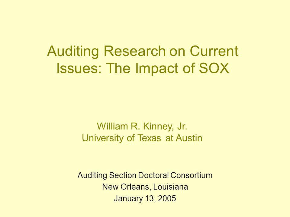 Auditing Research on Current Issues: The Impact of SOX Auditing Section Doctoral Consortium New Orleans, Louisiana January 13, 2005 William R.