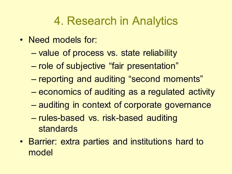 4. Research in Analytics Need models for: –value of process vs.