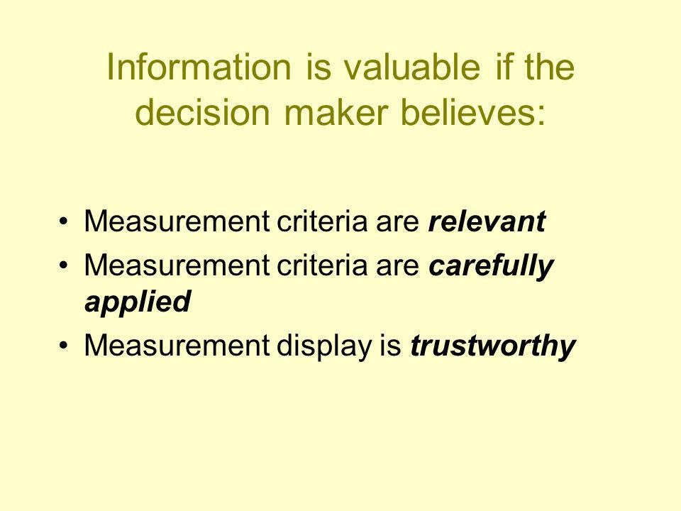 Information is valuable if the decision maker believes: Measurement criteria are relevant Measurement criteria are carefully applied Measurement display is trustworthy