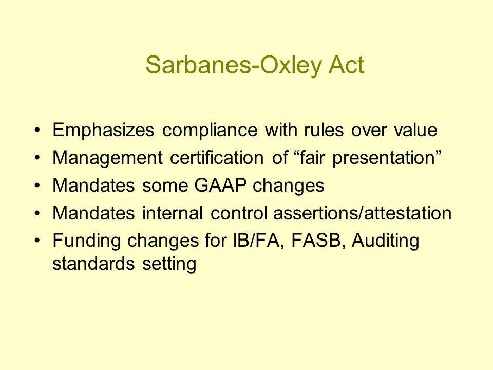Sarbanes-Oxley Act Emphasizes compliance with rules over value Management certification of fair presentation Mandates some GAAP changes Mandates internal control assertions/attestation Funding changes for IB/FA, FASB, Auditing standards setting