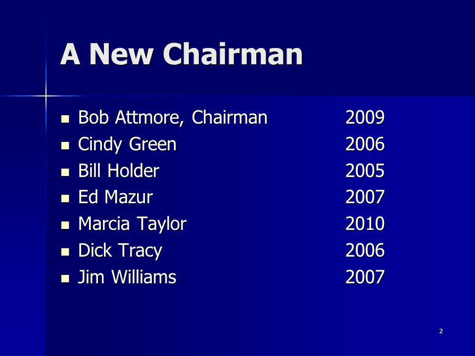 2 A New Chairman Bob Attmore, Chairman 2009 Bob Attmore, Chairman 2009 Cindy Green2006 Cindy Green2006 Bill Holder 2005 Bill Holder 2005 Ed Mazur 2007