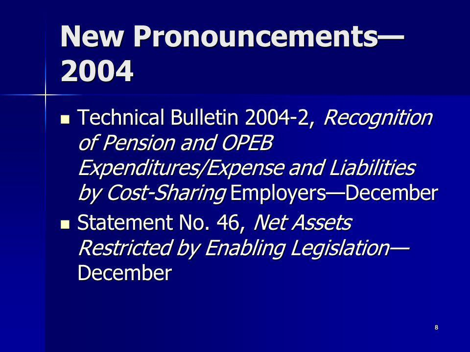 8 New Pronouncements 2004 Technical Bulletin 2004-2, Recognition of Pension and OPEB Expenditures/Expense and Liabilities by Cost-Sharing EmployersDecember Technical Bulletin 2004-2, Recognition of Pension and OPEB Expenditures/Expense and Liabilities by Cost-Sharing EmployersDecember Statement No.