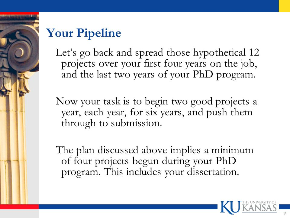 Recruiting and Your Pipeline Start four good projects during your PhD program, including your dissertation – it sounds feasible and will give you a decent chance for promotion.
