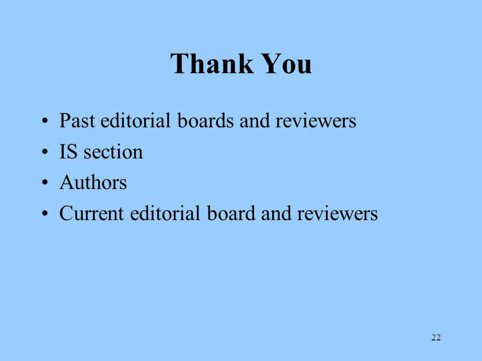 22 Thank You Past editorial boards and reviewers IS section Authors Current editorial board and reviewers
