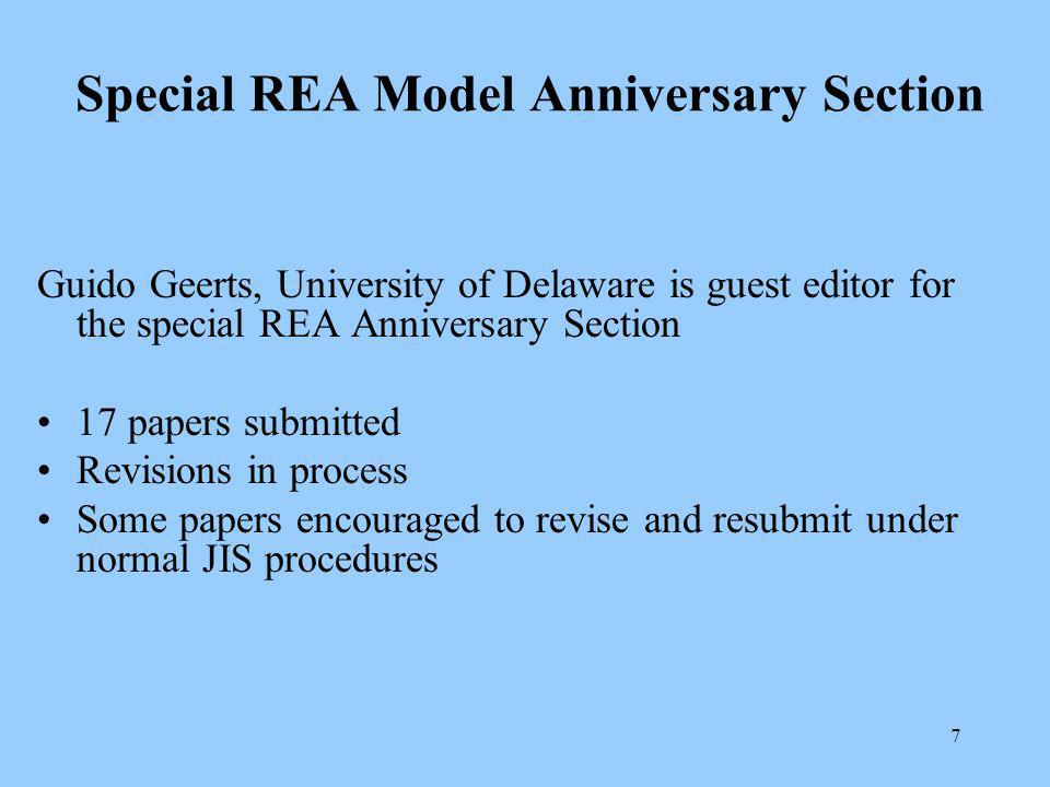 7 Special REA Model Anniversary Section Guido Geerts, University of Delaware is guest editor for the special REA Anniversary Section 17 papers submitted Revisions in process Some papers encouraged to revise and resubmit under normal JIS procedures