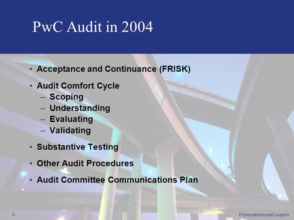 PricewaterhouseCoopers4 Changing the Focus of the Audit Model Audit Risks Identified Risk Key Risk Key Risk Key Risk Key Risk Key Risk Business Risks