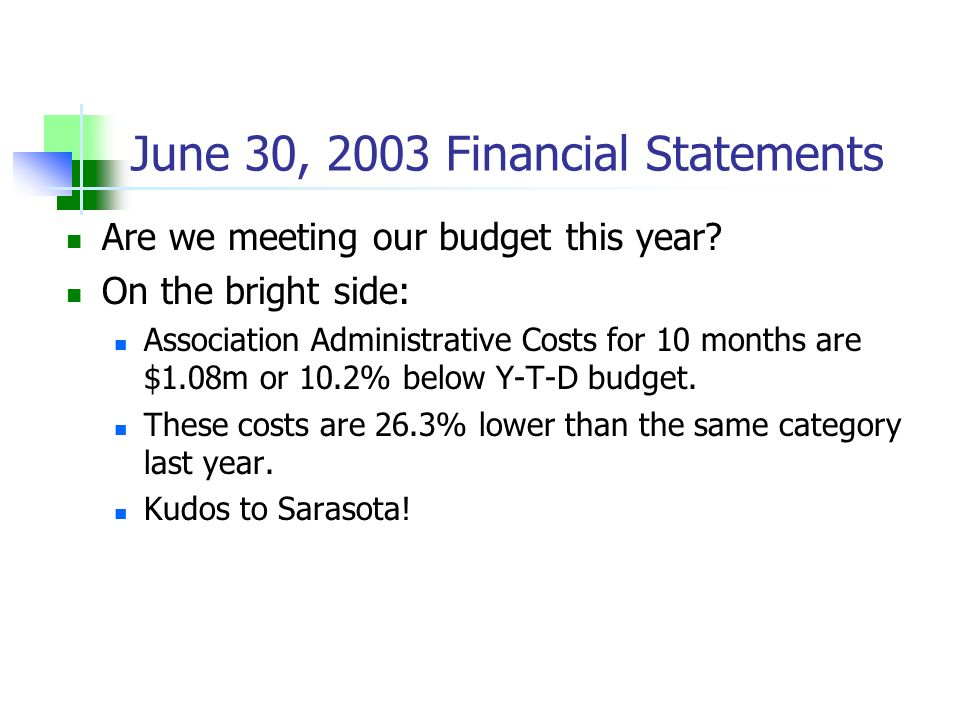 June 30, 2003 Financial Statements Are we meeting our budget this year? On the bright side: Association Administrative Costs for 10 months are $1.08m