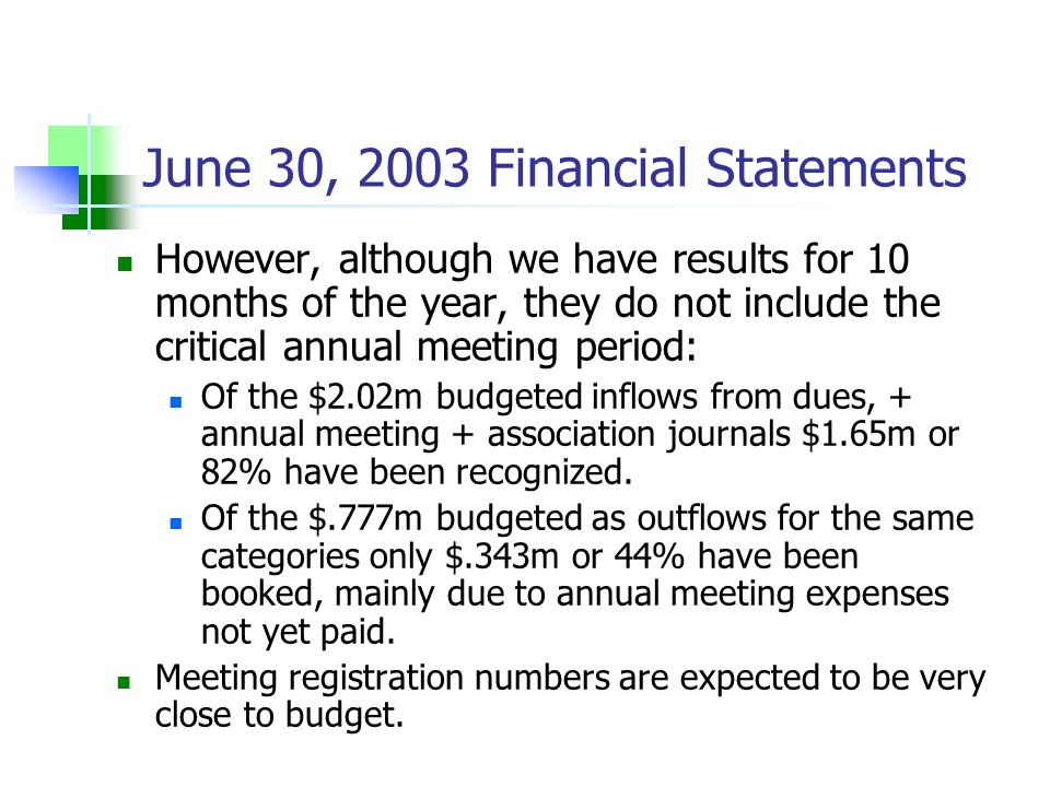 However, although we have results for 10 months of the year, they do not include the critical annual meeting period: Of the $2.02m budgeted inflows fr
