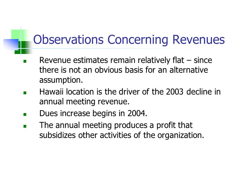 Observations Concerning Revenues Revenue estimates remain relatively flat – since there is not an obvious basis for an alternative assumption. Hawaii