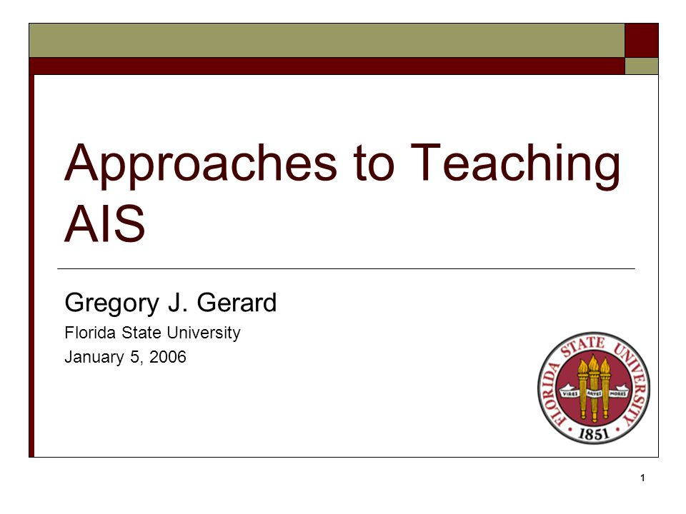 1 Approaches to Teaching AIS Gregory J. Gerard Florida State University January 5, 2006