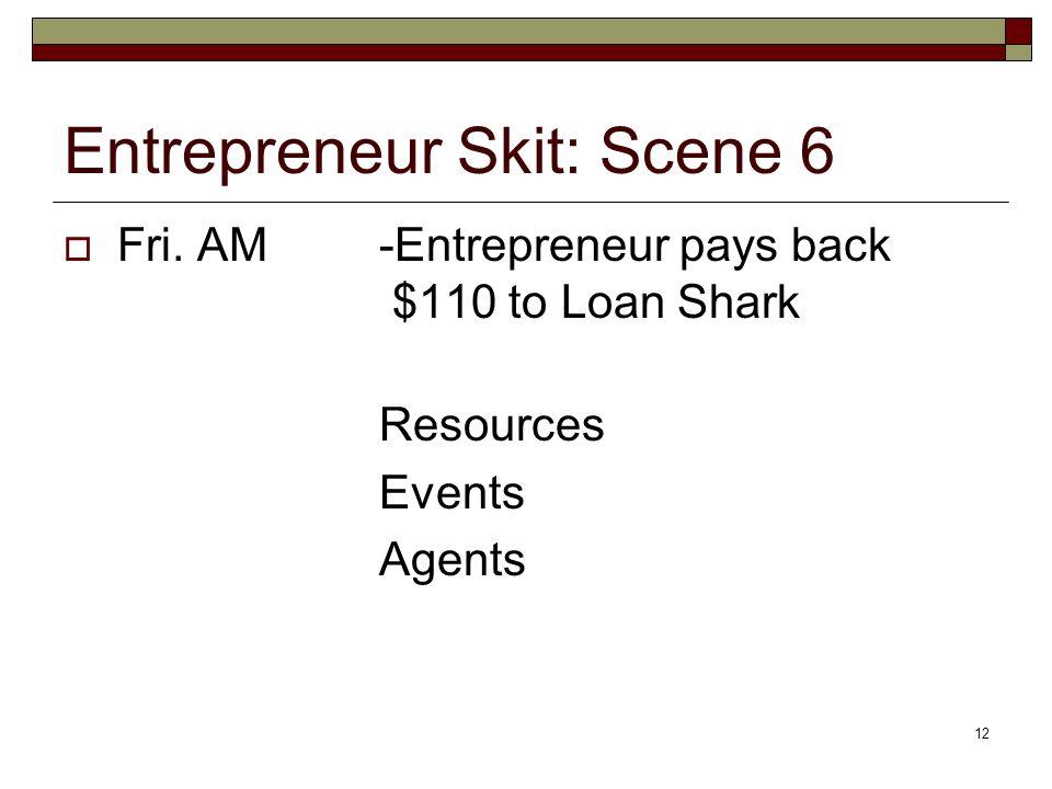 12 Entrepreneur Skit: Scene 6 Fri. AM-Entrepreneur pays back $110 to Loan Shark Resources Events Agents