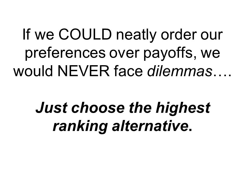 If we COULD neatly order our preferences over payoffs, we would NEVER face dilemmas….