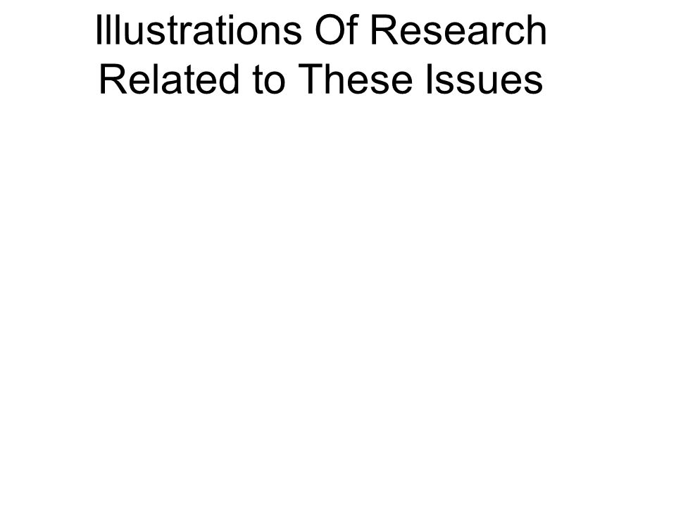 Illustrations Of Research Related to These Issues