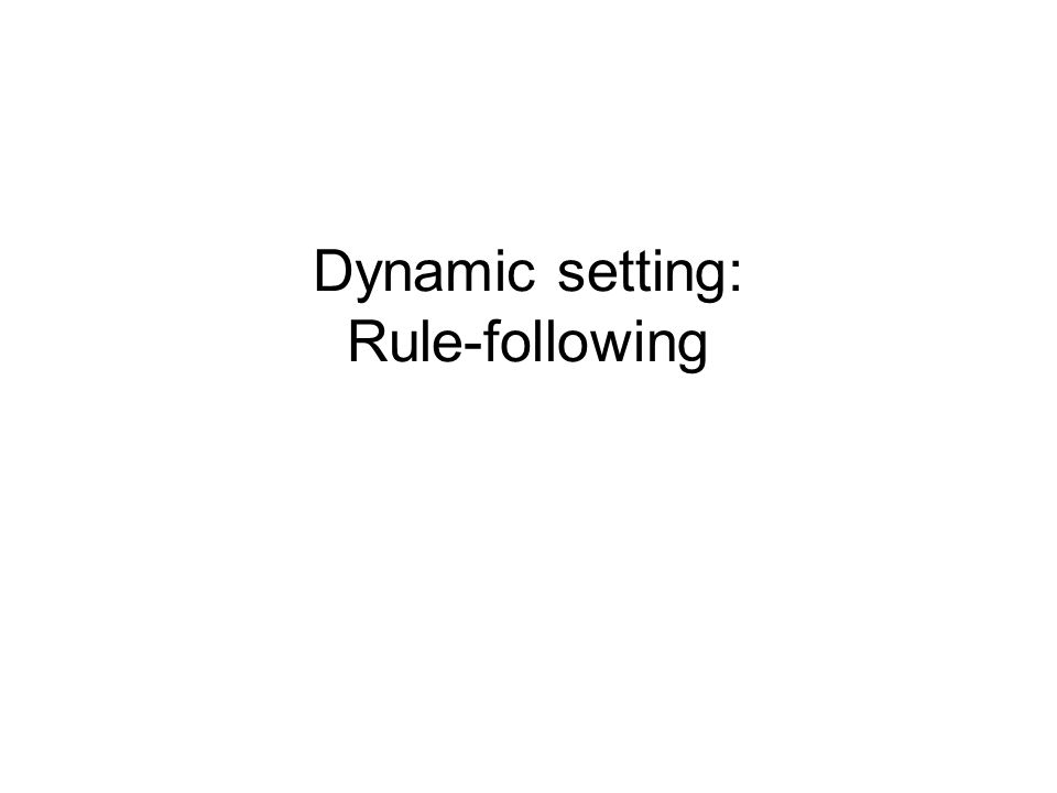 Dynamic setting: Rule-following