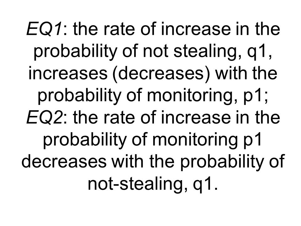 EQ1: the rate of increase in the probability of not stealing, q1, increases (decreases) with the probability of monitoring, p1; EQ2: the rate of increase in the probability of monitoring p1 decreases with the probability of not-stealing, q1.