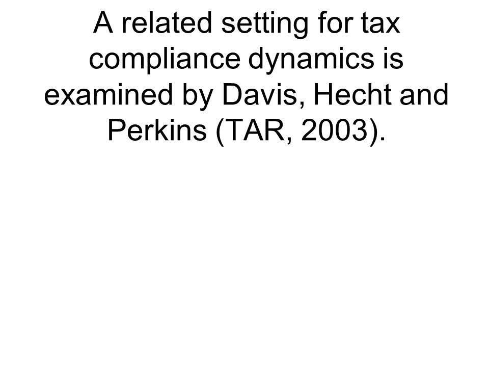 A related setting for tax compliance dynamics is examined by Davis, Hecht and Perkins (TAR, 2003).