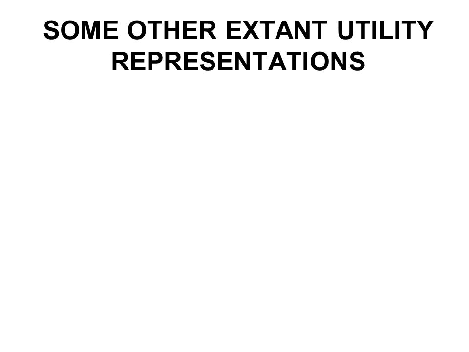 SOME OTHER EXTANT UTILITY REPRESENTATIONS