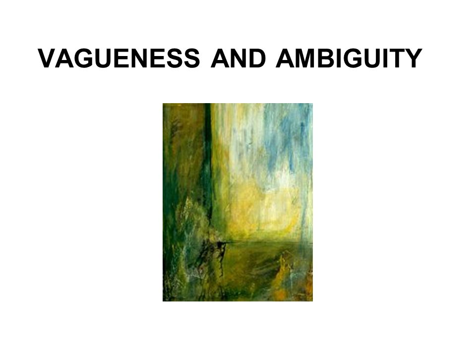 VAGUENESS AND AMBIGUITY