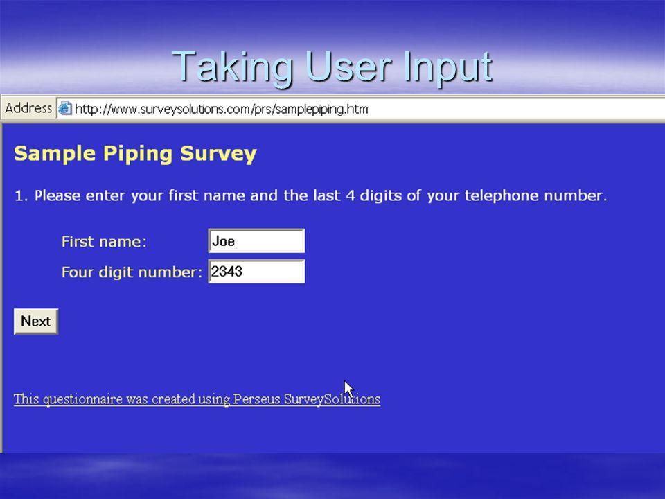 Taking User Input