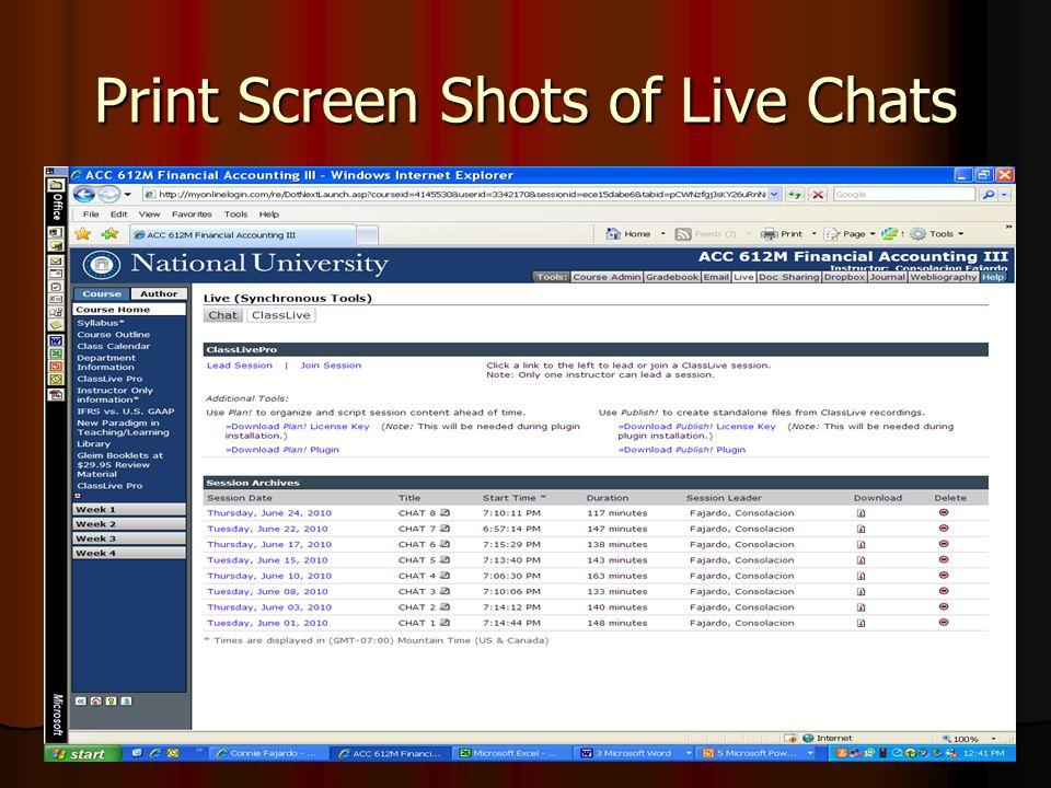 Print Screen Shots of Live Chats