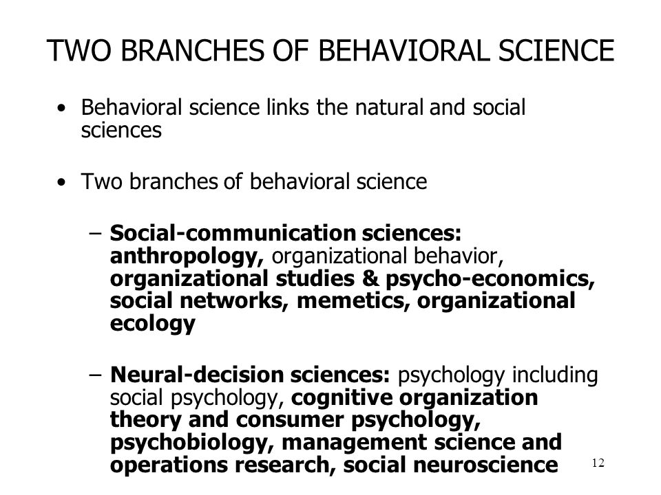 12 TWO BRANCHES OF BEHAVIORAL SCIENCE Behavioral science links the natural and social sciences Two branches of behavioral science –Social-communication sciences: anthropology, organizational behavior, organizational studies & psycho-economics, social networks, memetics, organizational ecology –Neural-decision sciences: psychology including social psychology, cognitive organization theory and consumer psychology, psychobiology, management science and operations research, social neuroscience
