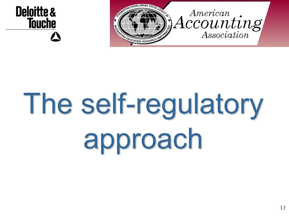 13 The self-regulatory approach
