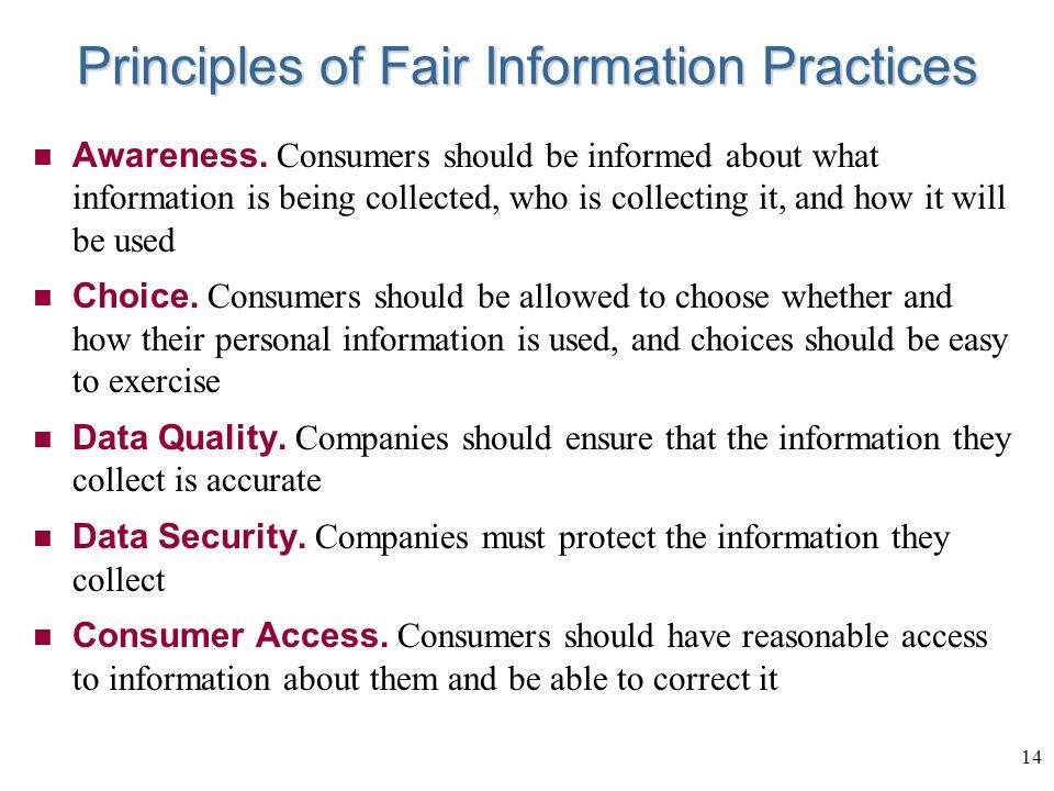 14 Principles of Fair Information Practices Awareness.
