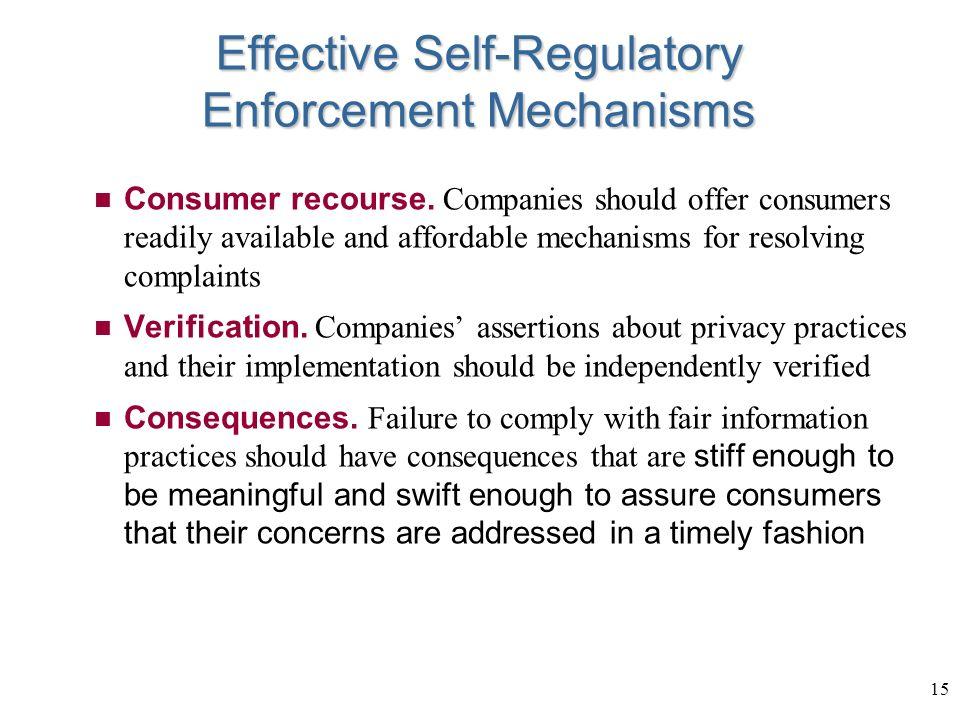 15 Effective Self-Regulatory Enforcement Mechanisms Consumer recourse.
