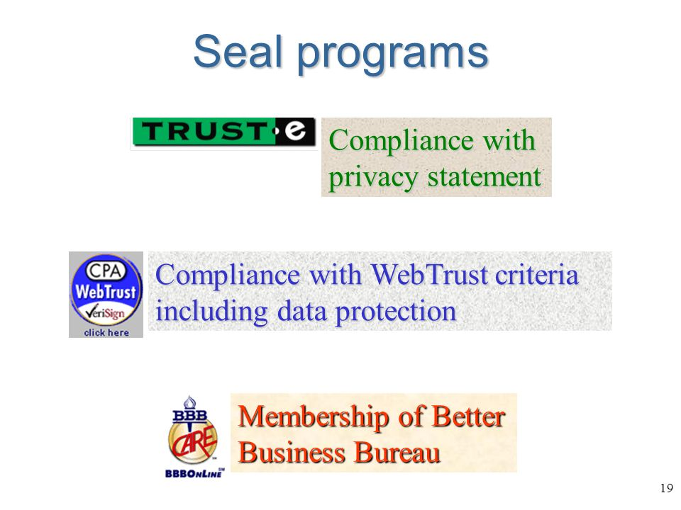 19 Seal programs Compliance with WebTrust criteria including data protection Membership of Better Business Bureau Compliance with privacy statement