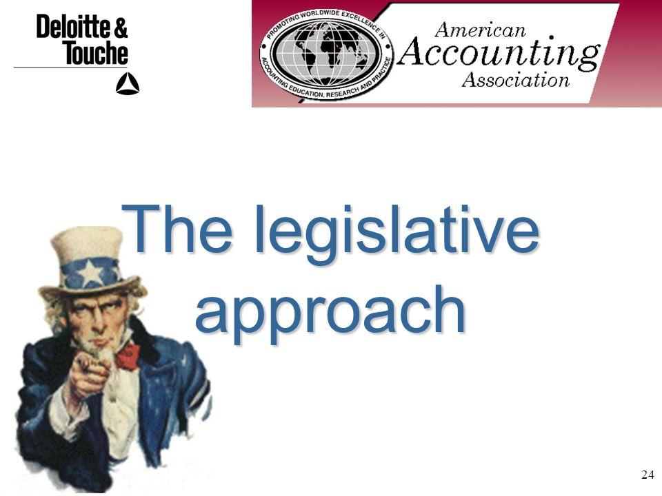 24 The legislative approach