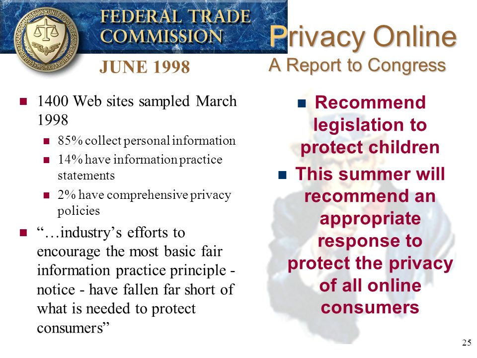 25 n 1400 Web sites sampled March 1998 n 85% collect personal information n 14% have information practice statements n 2% have comprehensive privacy policies n …industrys efforts to encourage the most basic fair information practice principle - notice - have fallen far short of what is needed to protect consumers Privacy Online A Report to Congress JUNE 1998 n Recommend legislation to protect children n This summer will recommend an appropriate response to protect the privacy of all online consumers