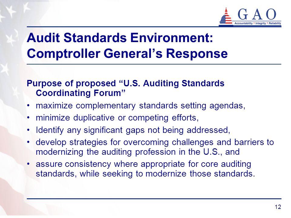 12 Audit Standards Environment: Comptroller Generals Response Purpose of proposed U.S.
