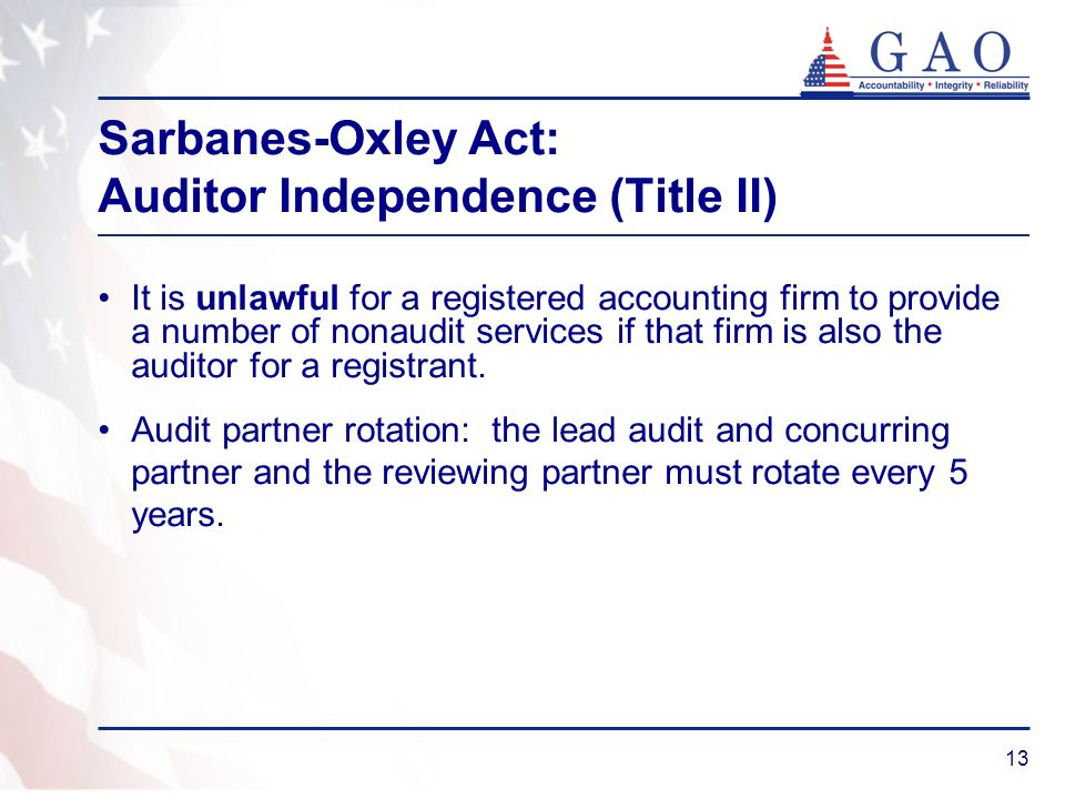 13 Sarbanes-Oxley Act: Auditor Independence (Title II) It is unlawful for a registered accounting firm to provide a number of nonaudit services if that firm is also the auditor for a registrant.