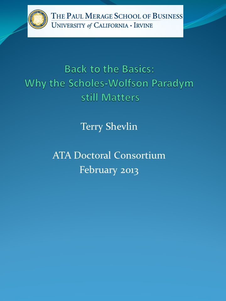 Terry Shevlin ATA Doctoral Consortium February 2013