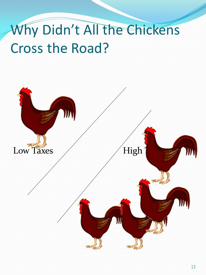 13 Why Didnt All the Chickens Cross the Road Low TaxesHigh Taxes
