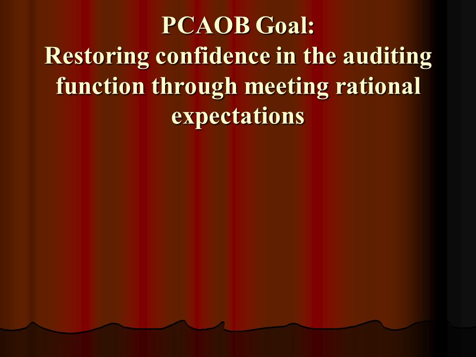 PCAOB Goal: Restoring confidence in the auditing function through meeting rational expectations