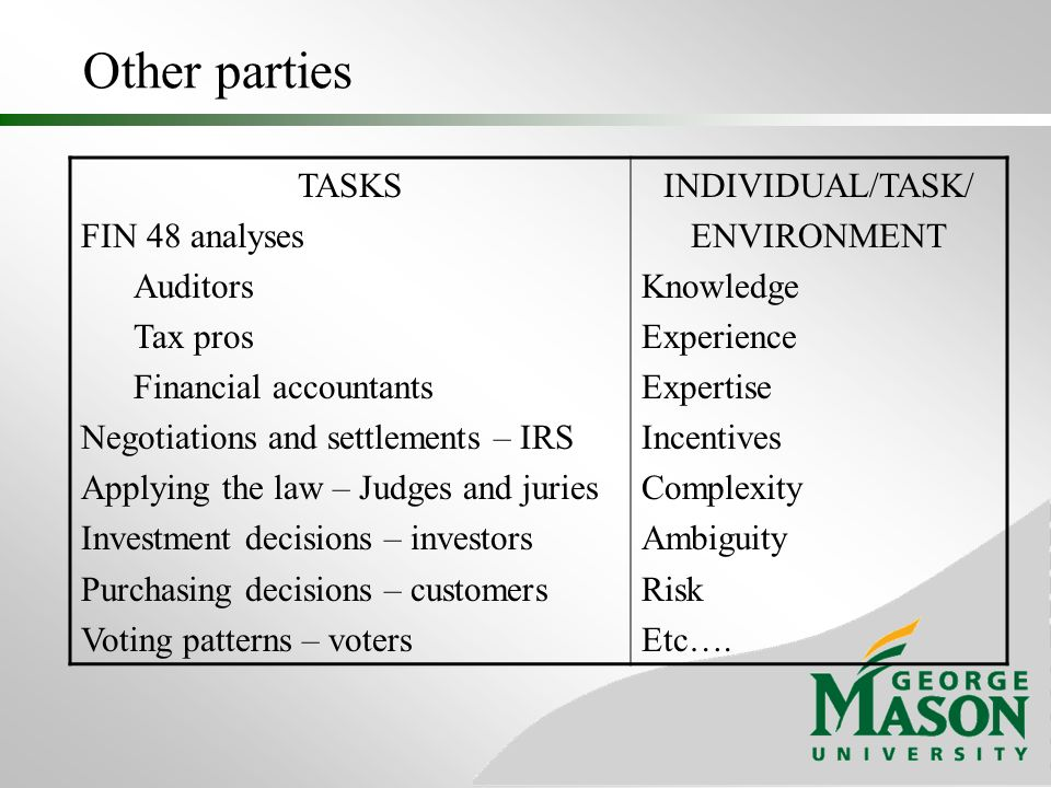 Other parties TASKS FIN 48 analyses Auditors Tax pros Financial accountants Negotiations and settlements – IRS Applying the law – Judges and juries Investment decisions – investors Purchasing decisions – customers Voting patterns – voters INDIVIDUAL/TASK/ ENVIRONMENT Knowledge Experience Expertise Incentives Complexity Ambiguity Risk Etc….