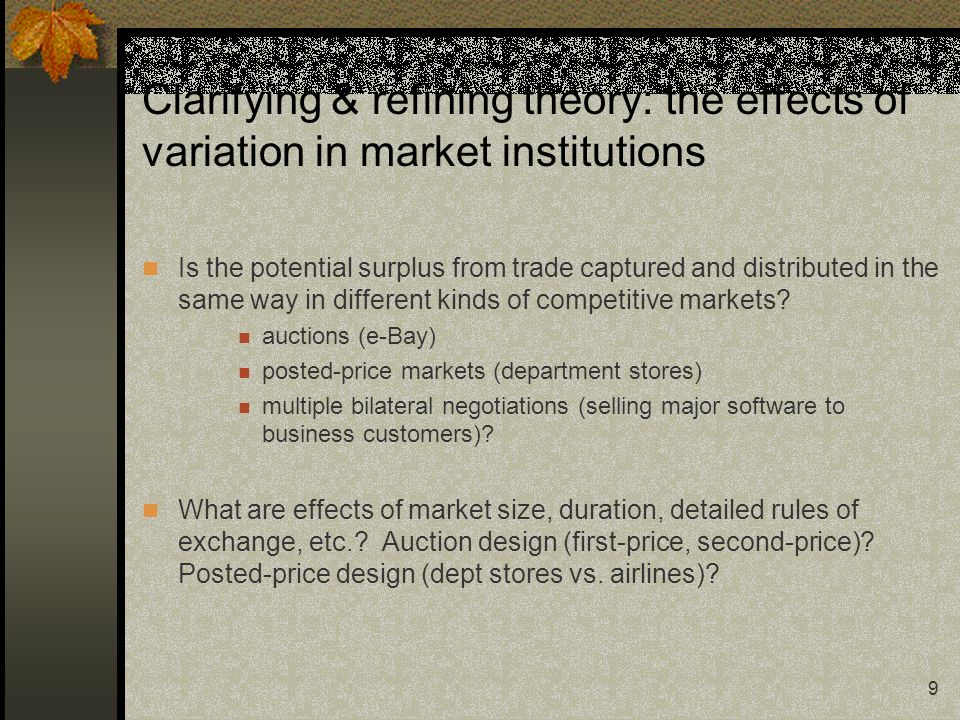 9 Clarifying & refining theory: the effects of variation in market institutions Is the potential surplus from trade captured and distributed in the sa