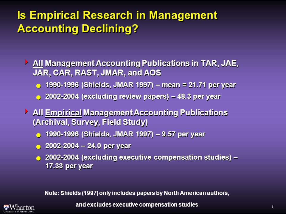 Advancing Empirical Research in Management Accounting Christopher D. Ittner