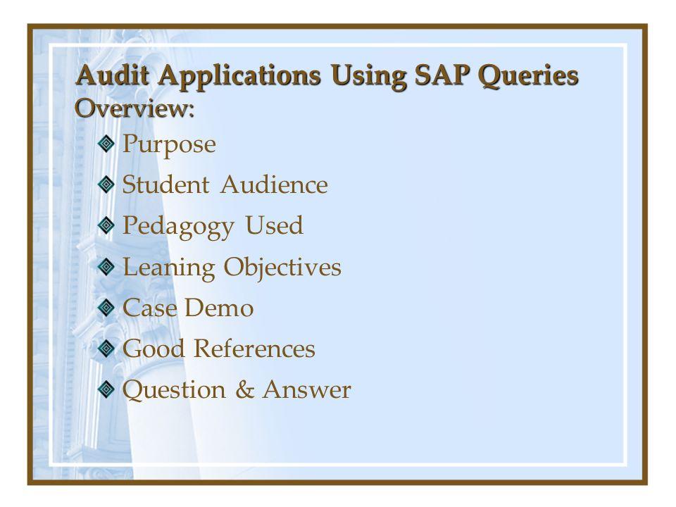 Audit Applications Using SAP Queries Good Background Resources for SAP http://sap.mis.cmich.edu/lessons/ SAP R/3 Enterprise Software: An Introduction by Roger Hayen.
