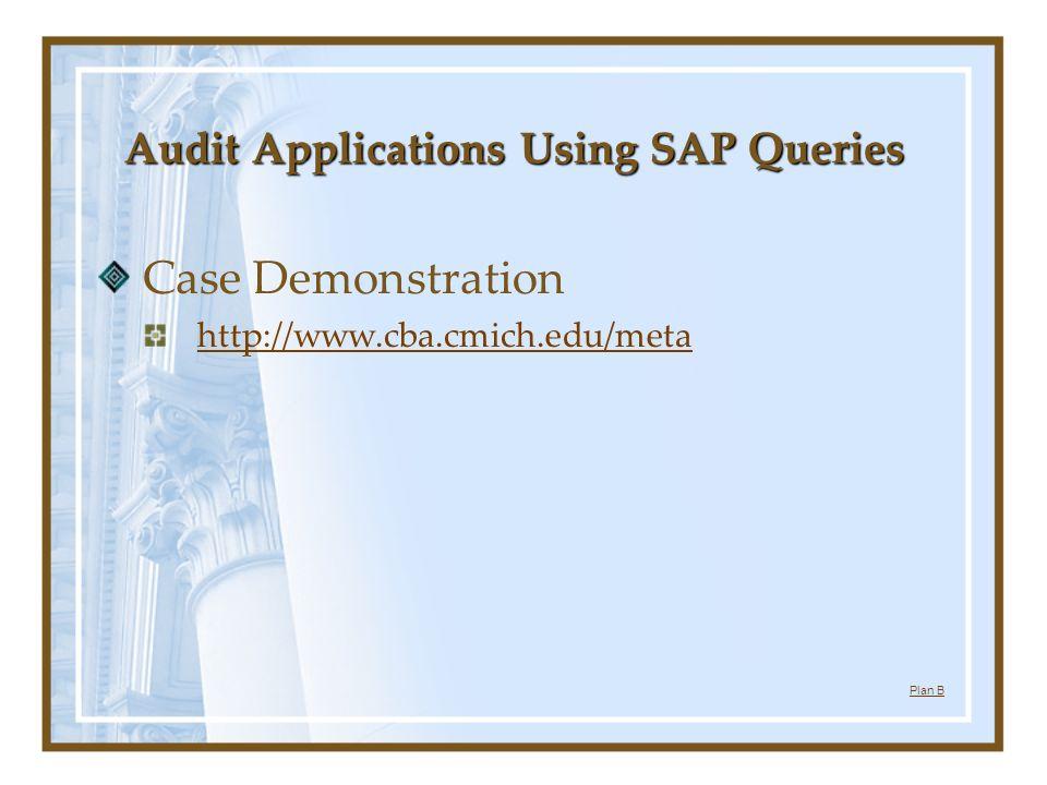 Audit Applications Using SAP Queries Case Demonstration http://www.cba.cmich.edu/meta Plan B